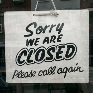 Sorry we're Closed sign - Cake + Whisky