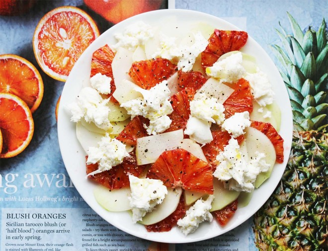 Kohlrabi, blood orange & mozzarella salad | Cake + Whisky