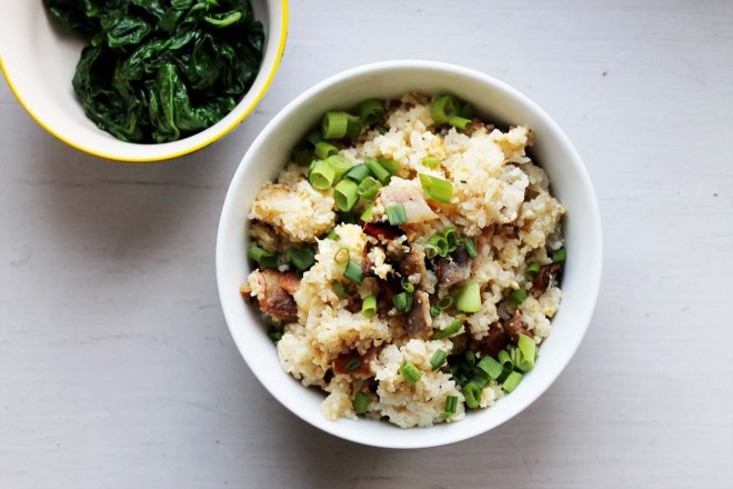 Bacon & egg fried rice with wilted spinach | Cake + Whisky