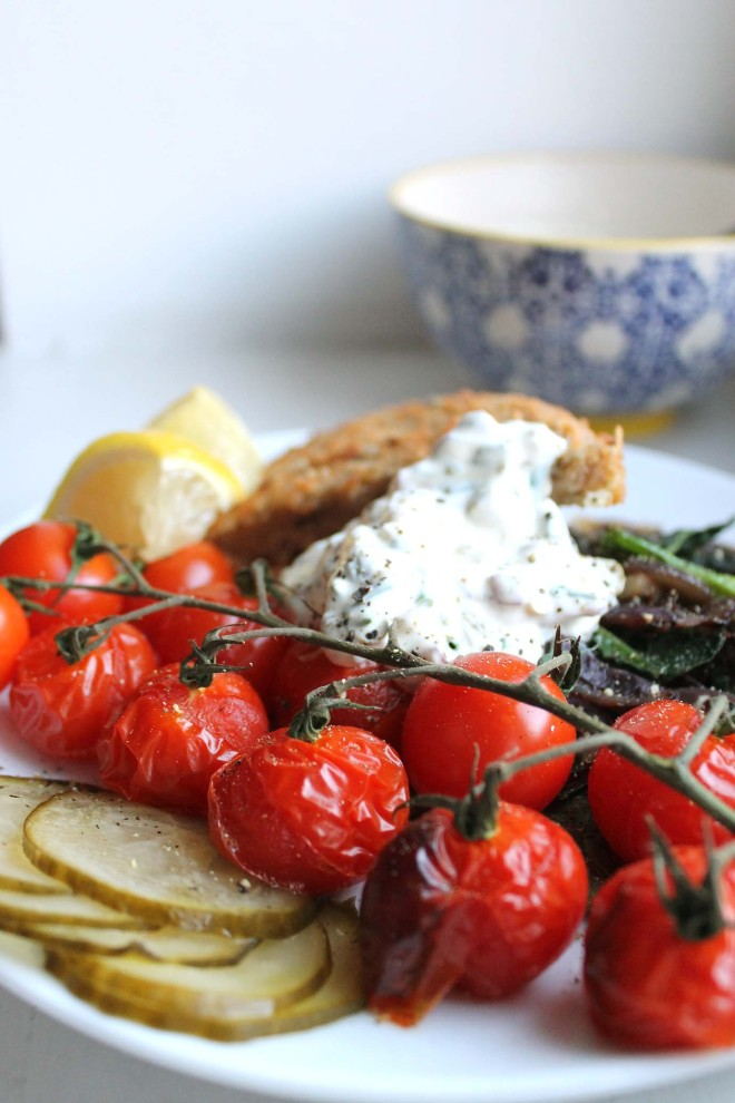 Vegetarian schnitzel & cheat's tartare with roasted veggies | Cake + Whisky