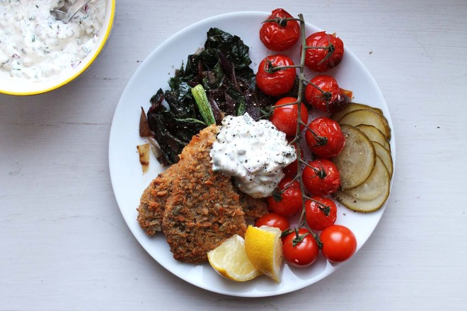 Vegetarian schnitzel & cheat's tartare with roasted veggies | Cake + Whisky