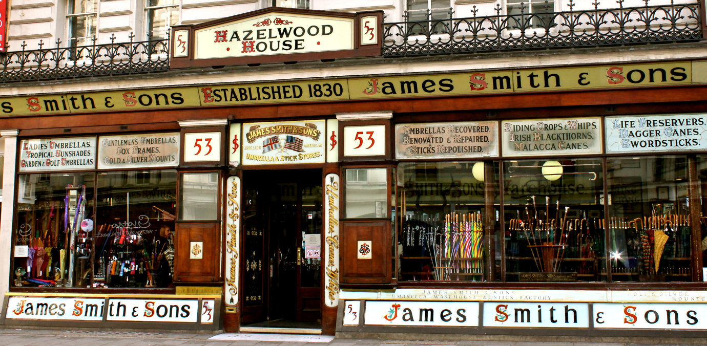 What to do in London when it rains | Buy an umbrella at James Smith & Sons