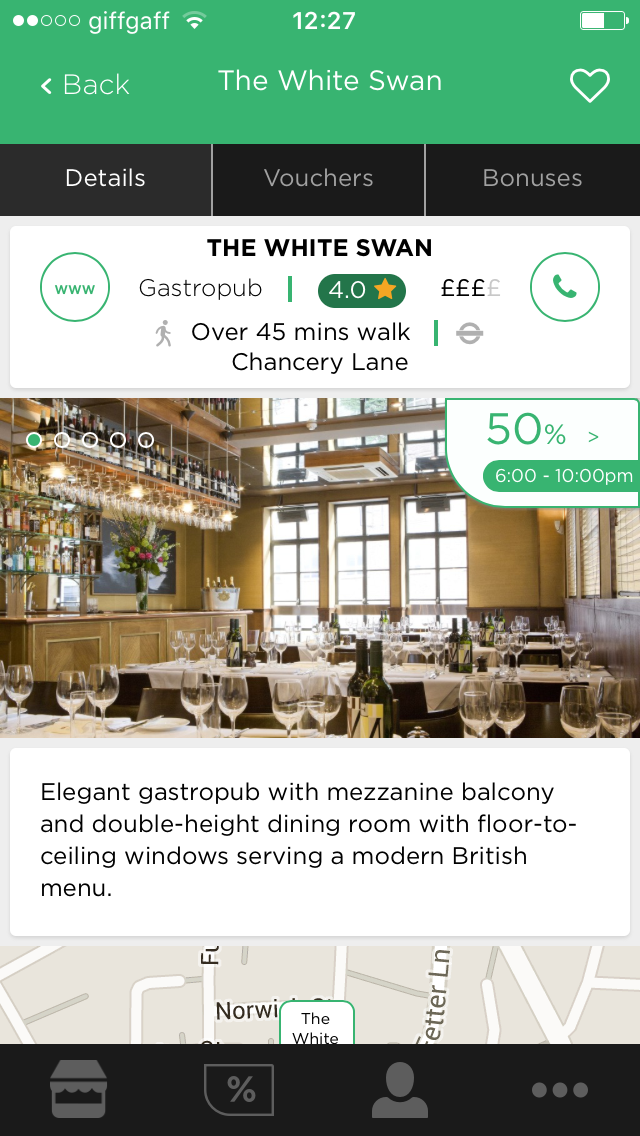 Dinner on offer at The White Swan with CityMunch app | Cake + Whisky