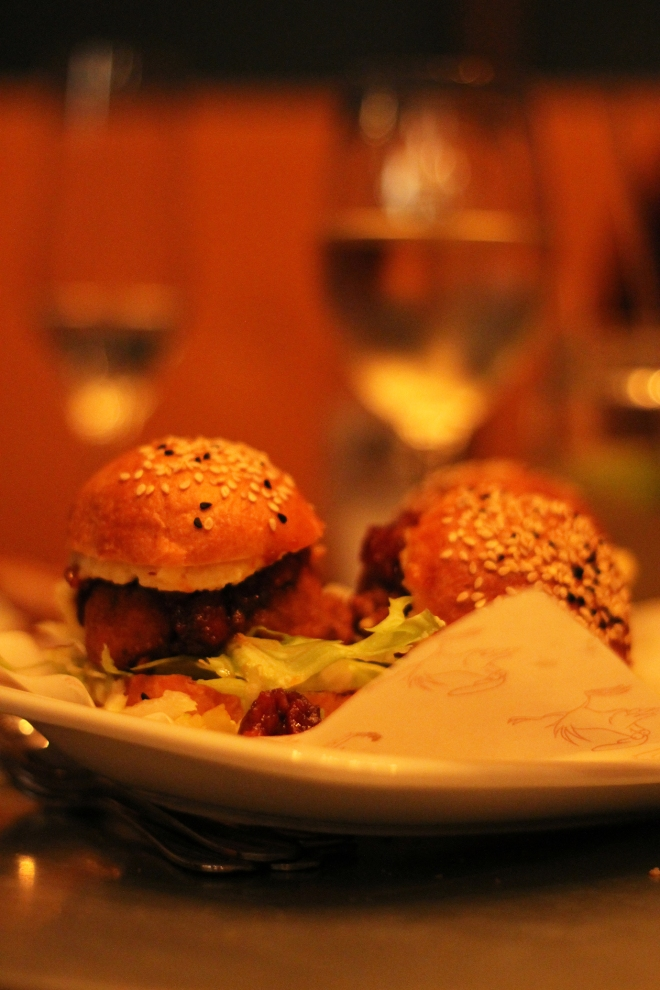 Chicken Sliders at Absurd Bird, Soho