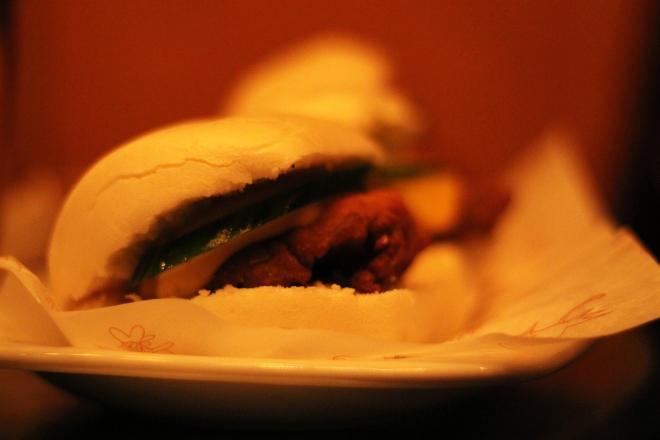 Chicken baos at Absurd Bird, Soho