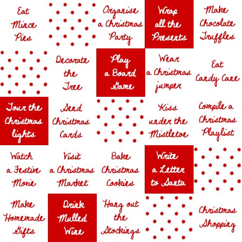 DIY Christmas Bingo cards | Cake + Whisky