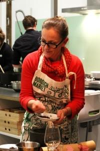 Katherine Frelon's Christmas demo kitchen at the Borough Market