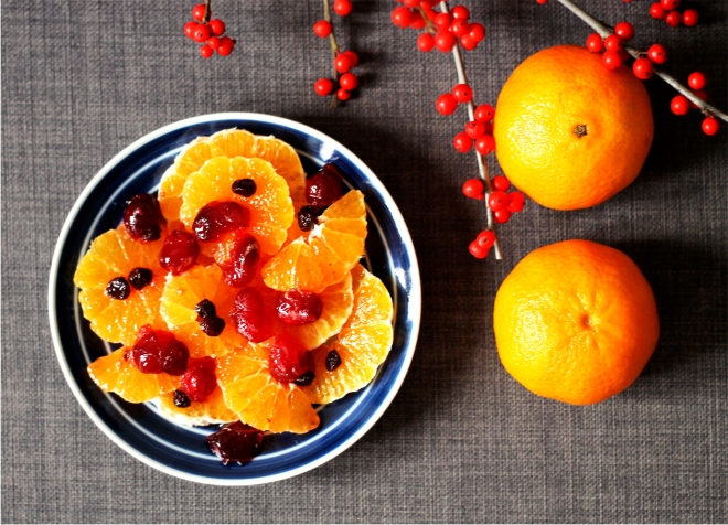 Christmas orange salad with spiced cranberries