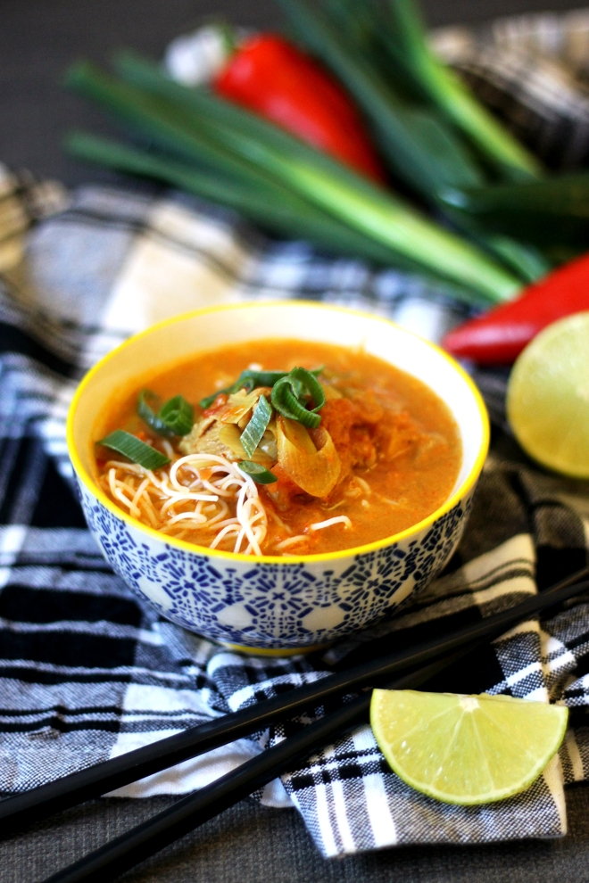Easy Thai coconut chicken noodle soup | Cake + Whisky