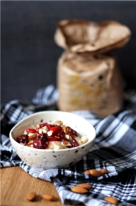 Cranberry Bakewell Porridge (healthy, vegan)   Cake + Whisky