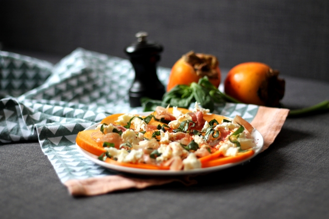 Persimmon salad with prosciutto & mozzarella | Cake + Whisky