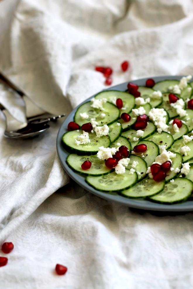 Cucumber, feta & pomegranate salad ● Cake + Whisky
