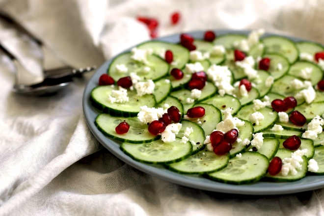 Cucumber, feta & pomegranate salad (v) ● Cake + Whisky