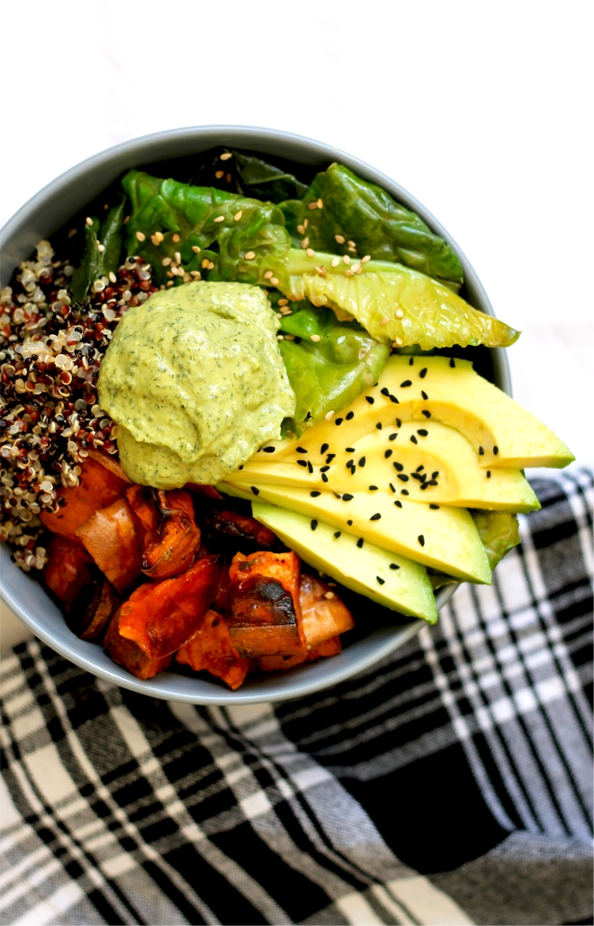 Sweet Potato & Quinoa Vegan Buddha Bowl with Green Tahini • Recipe • Cake + Whisky