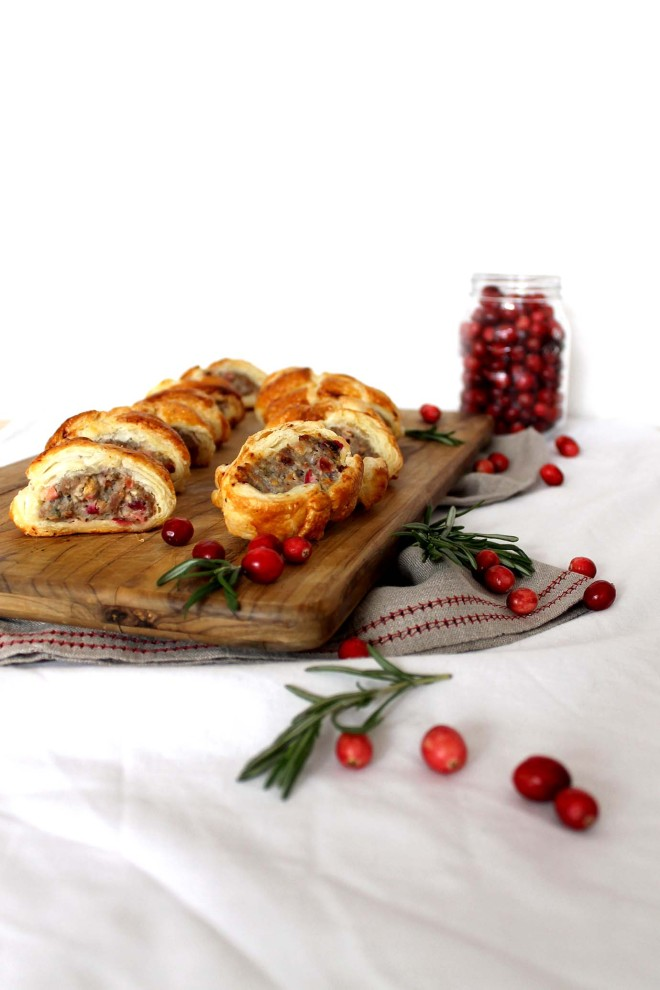 Cranberry & turkey sausage rolls ● Festive canapés recipe ● Cake + Whisky
